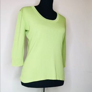 JOSEPH A🍃Silk 3/4 Sleeve Sweater Chartreuse Green